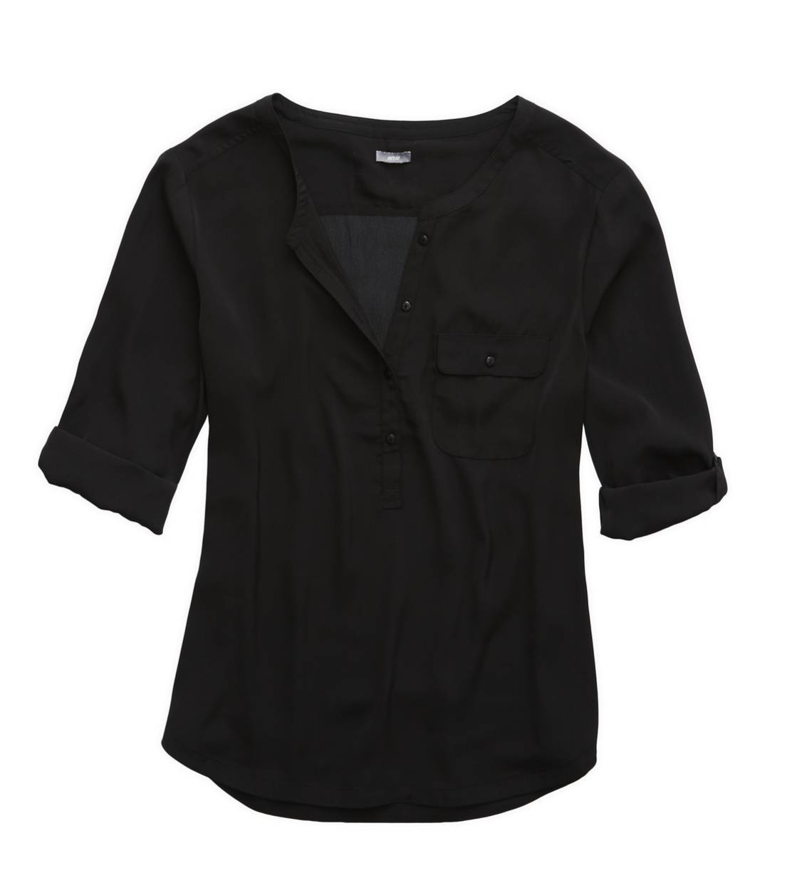 True Black Aerie Silky Button Down Shirt
