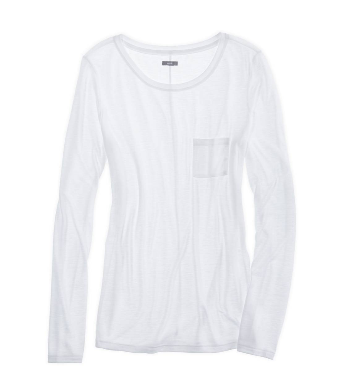 White  Aerie Comfiest Pocket T-Shirt