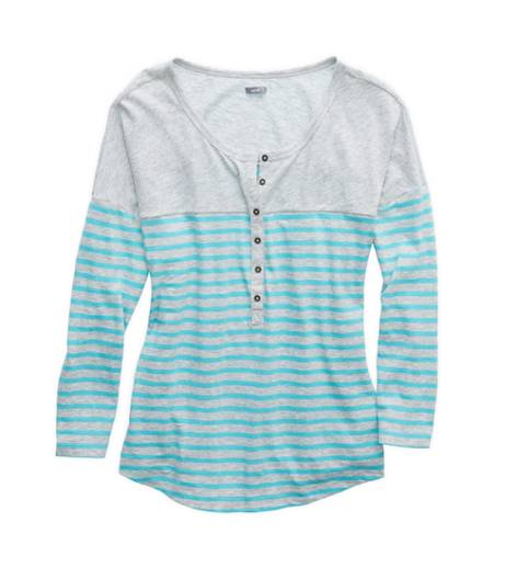 Tropics Aerie Striped Henley T-Shirt