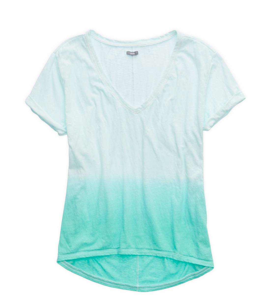Mint Leaf Aerie Deep V-Neck Oversized Dip Dye T-Shirt