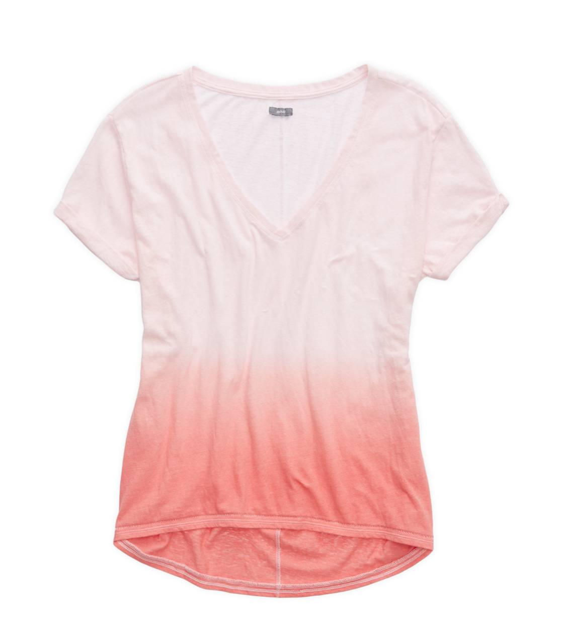 Whipped Strawberry Aerie Deep V-Neck Oversized Dip Dye T-Shirt