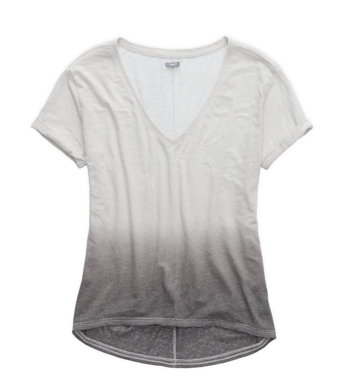 Pewter Aerie Deep V-Neck Oversized Dip Dye T-Shirt