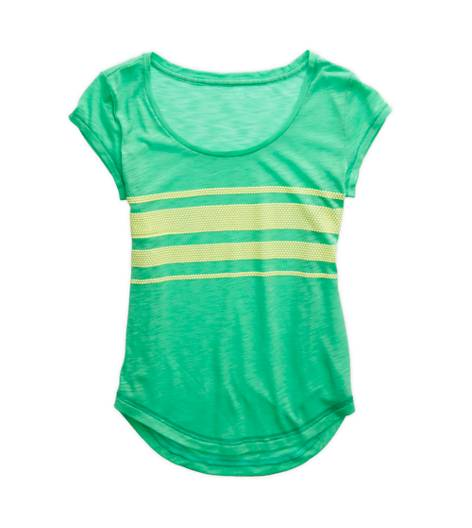 Neon Apple Fizz Aerie Textured Stripe T-Shirt