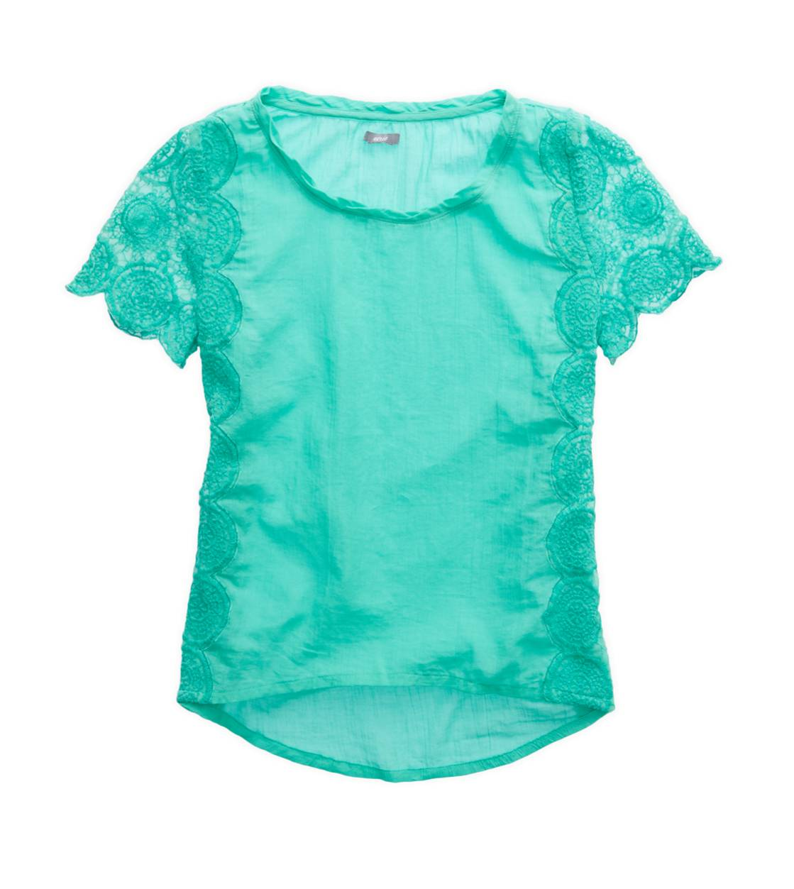 Mint Leaf Aerie Soft Crochet T-Shirt