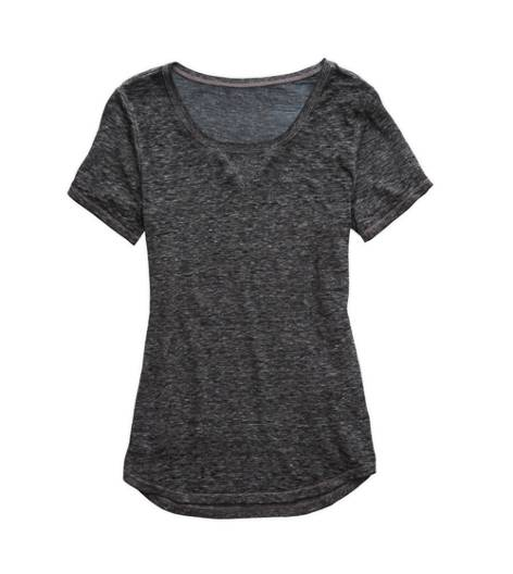 True Black Aerie Scoop Neck Burnout T-Shirt