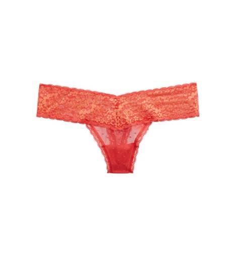 Whipped Strawberry Aerie Dot Mesh & Lace Thong