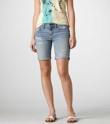 AE Destroyed Denim Bermuda Short - Take 40% Off