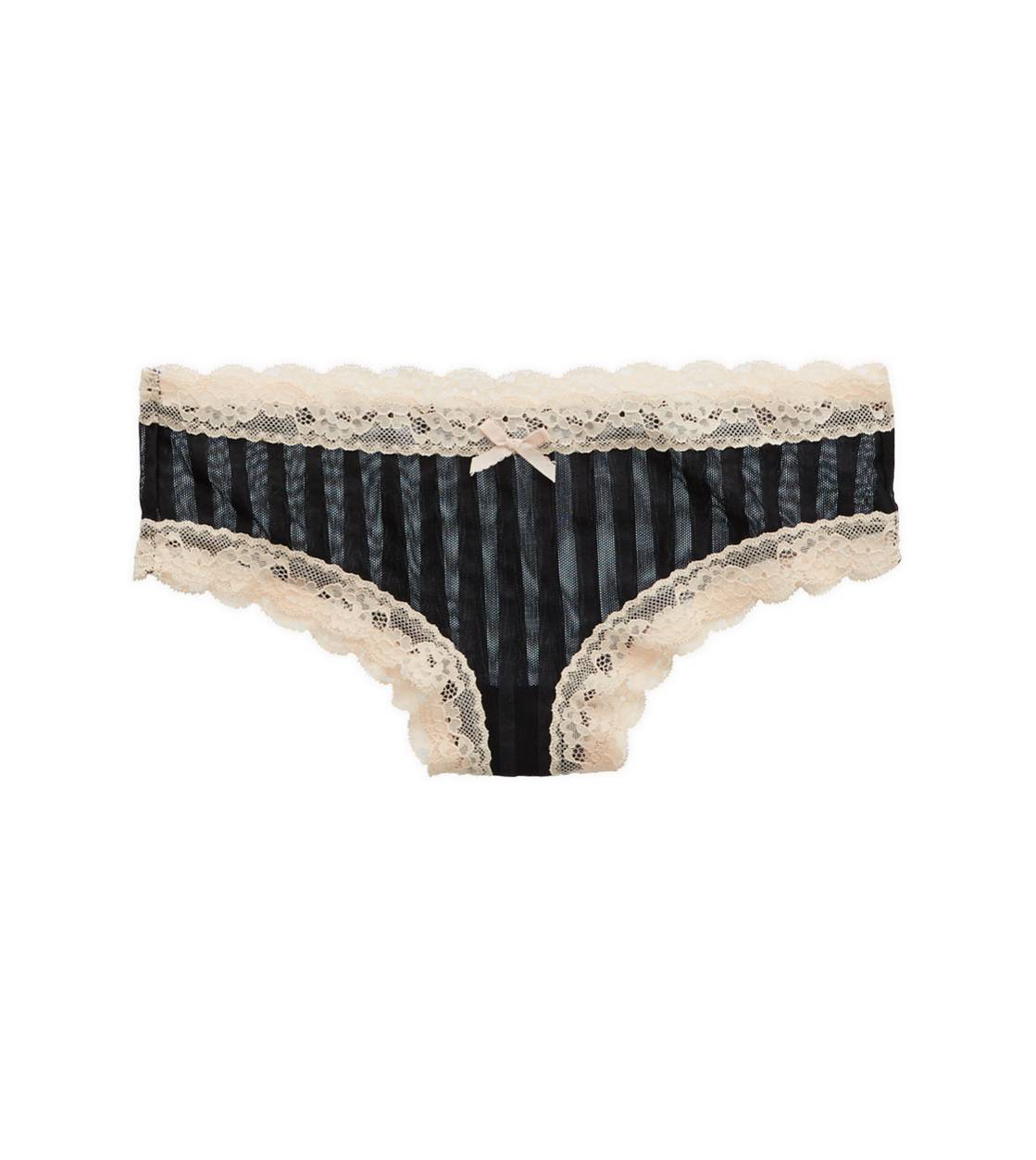 True Black Aerie Stripe Mesh Cheeky