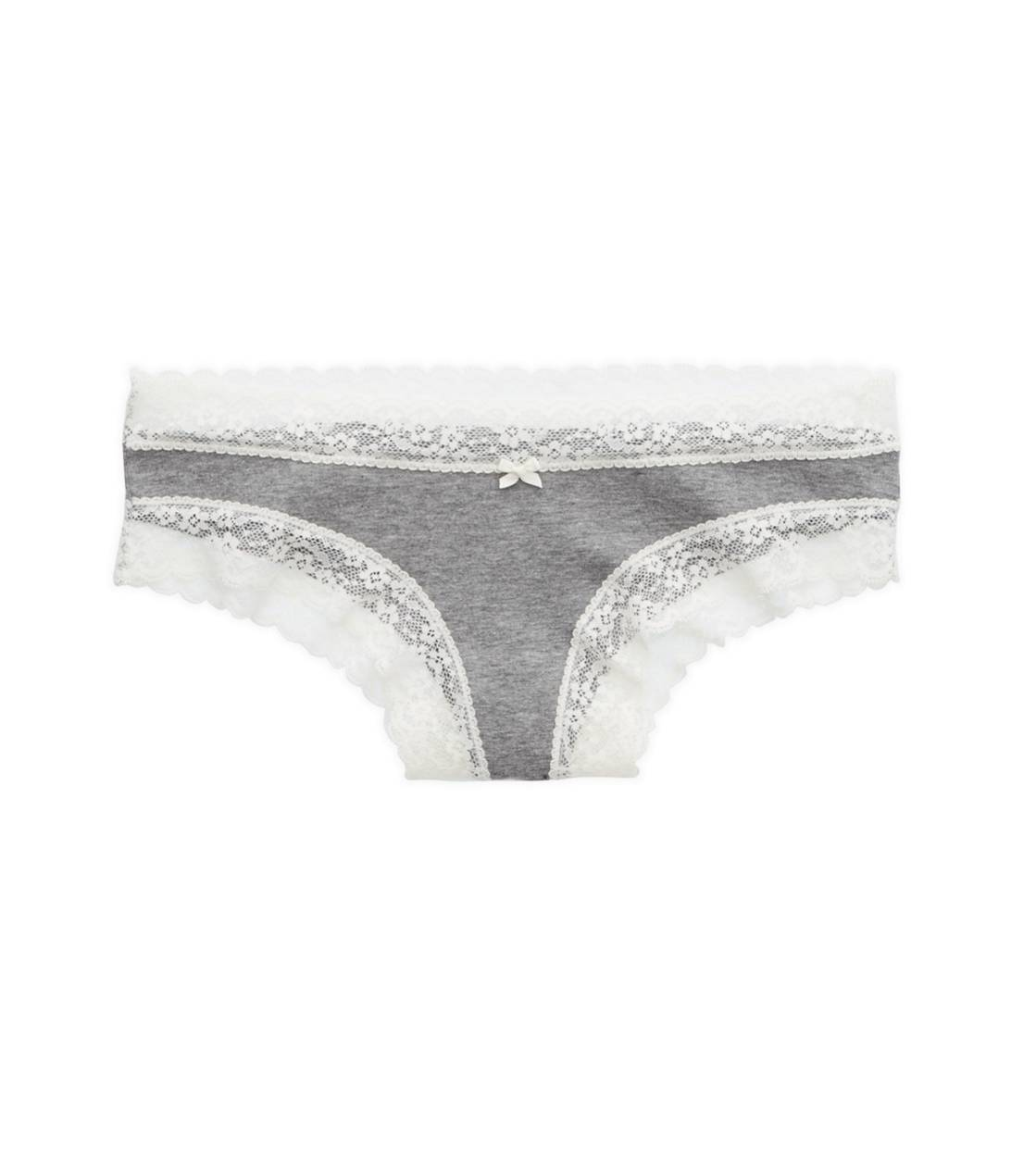 Dark Heather Grey Aerie Lace Trim Cheeky
