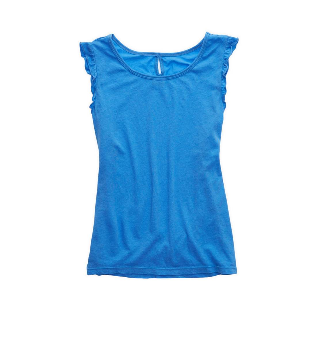 Rome Blue Aerie Ruffle Sleeve Softest Sleep Tank