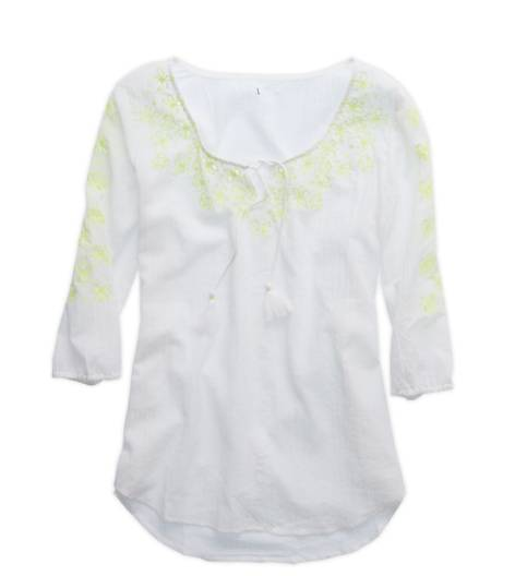 White  Aerie Embroidered Tunic