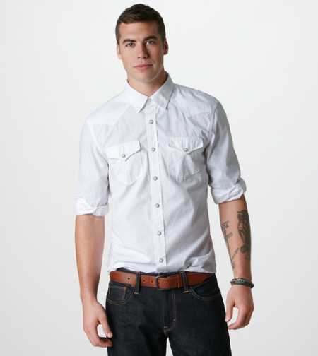 AE White Western Shirt - Take 40% off