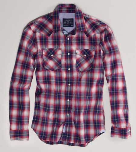 AE Plaid Western Shirt - Take 40% Off