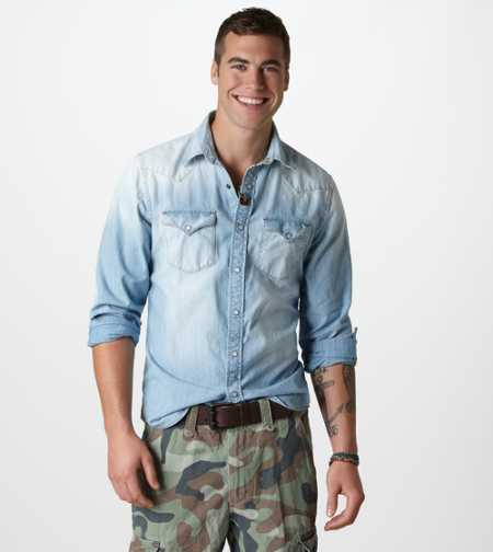 AE Light Denim Western Shirt - Take 40% off