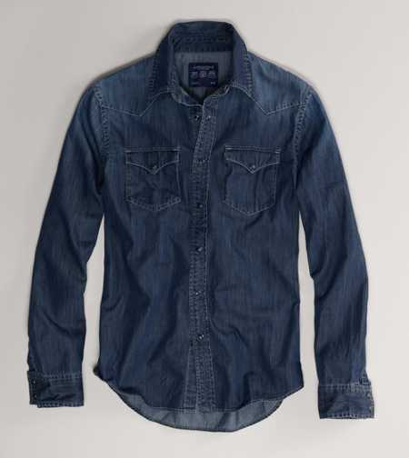 AE Dark Denim Western Shirt - Vintage Fit