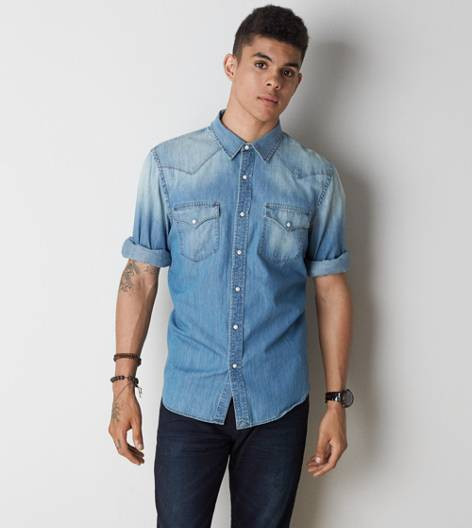 Washed Blue AEO Denim Western Shirt