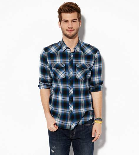 Navy AEO Plaid Western Shirt