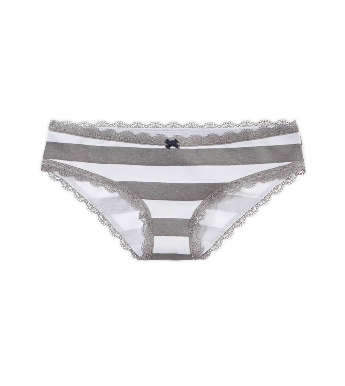 Dark Heather Grey Aerie Lace Trim Girly Brief