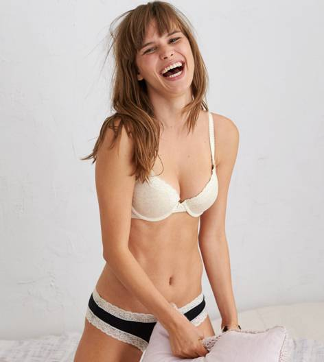 Oatmeal Heather Bridget Cotton Pushup Bra