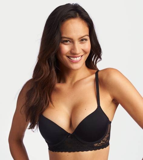 True Black Bridget Long Line Pushup Bra