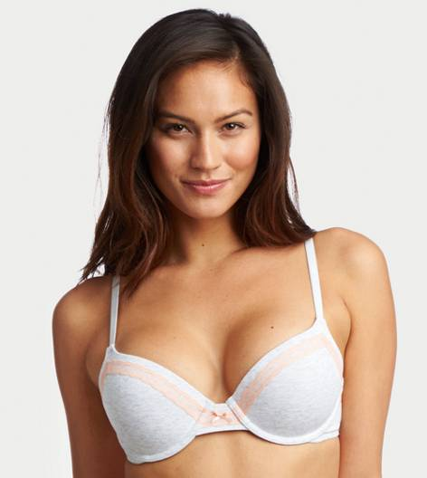 Light Heather Grey Bridget Cotton Pushup Bra
