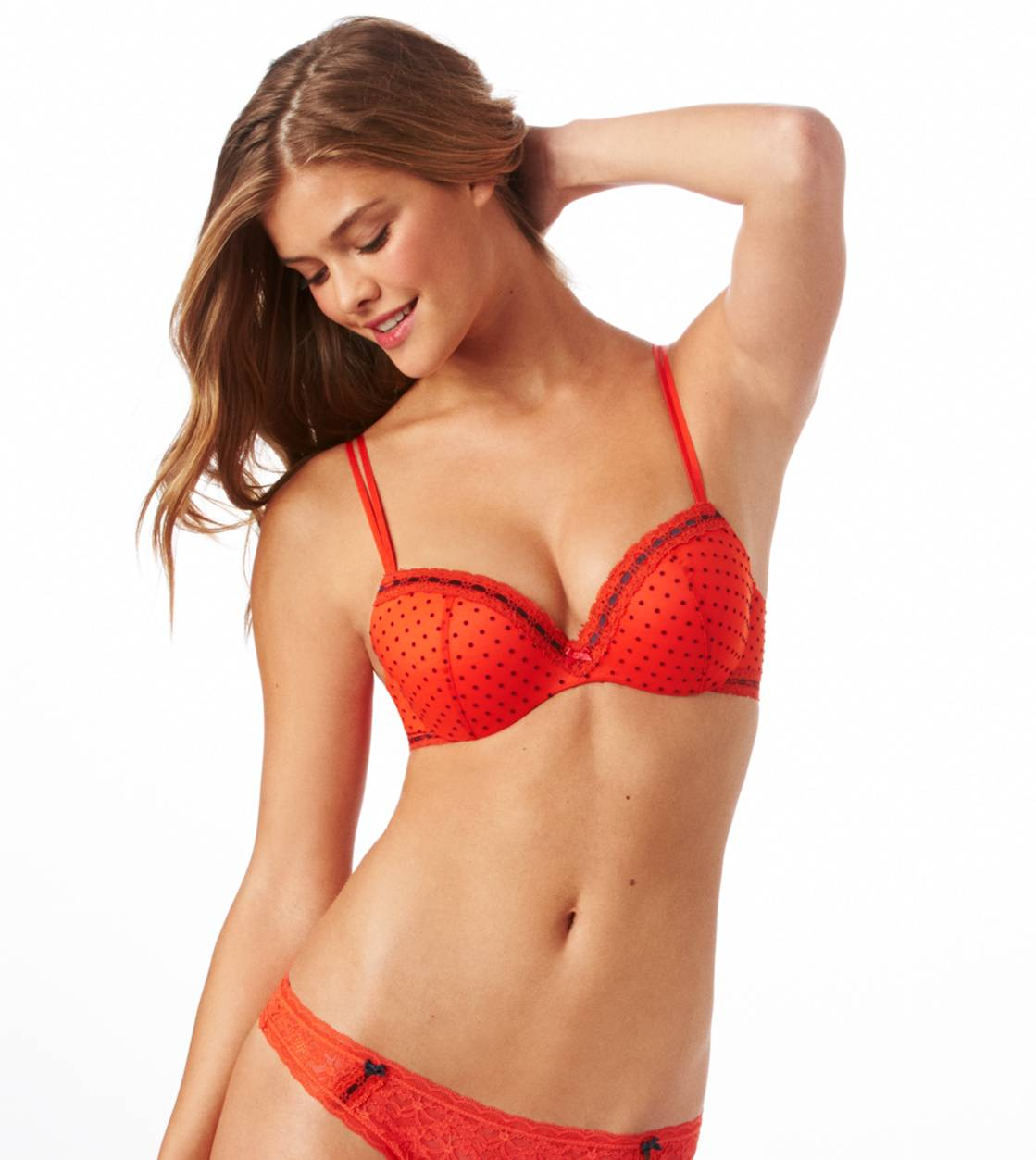 Tomato  Jacklyn Flocked Dot Pushup Bra