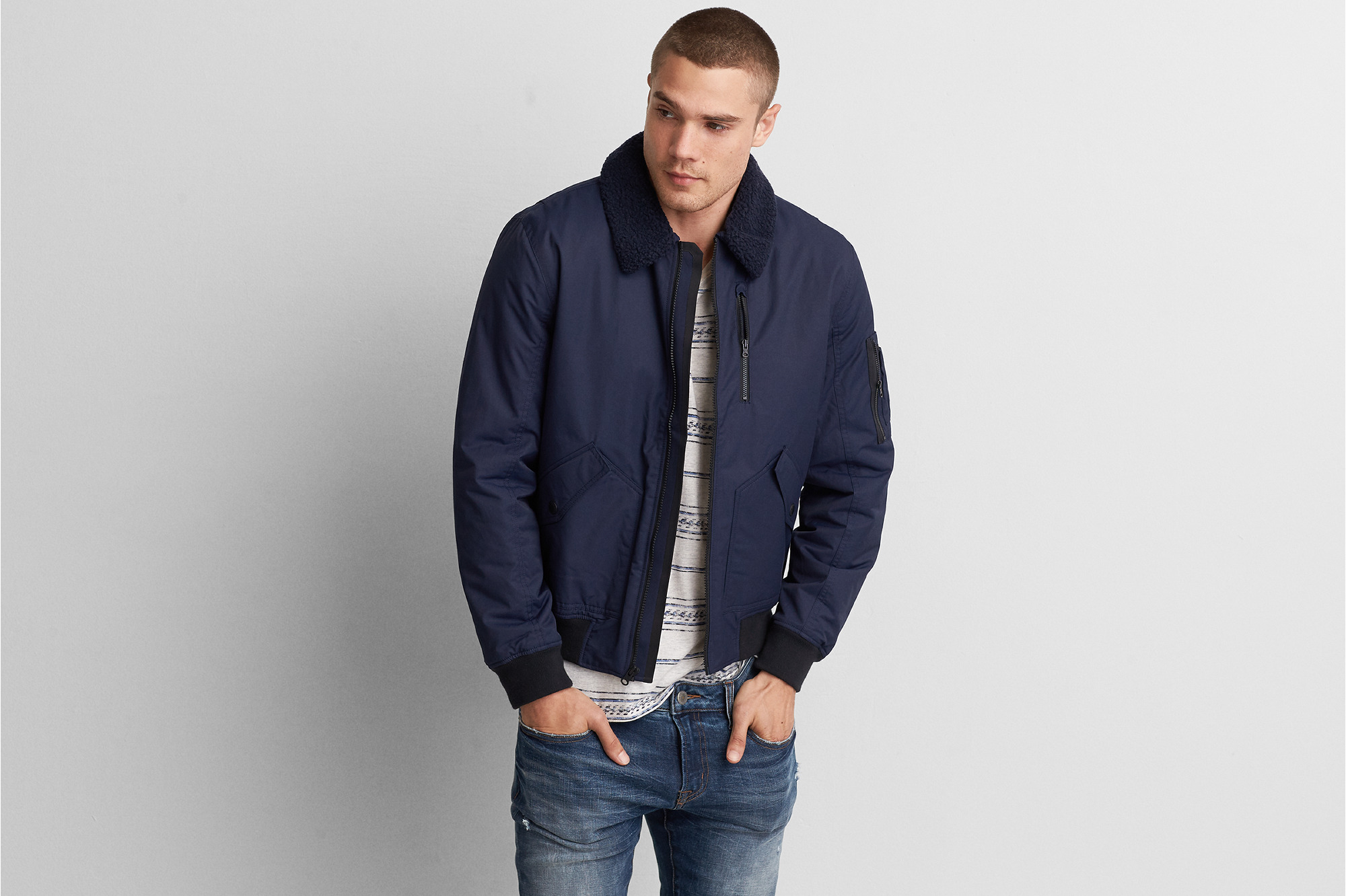 American Eagle Outfitters Mens Aviator Bomber Jacket (Dark Indigo)