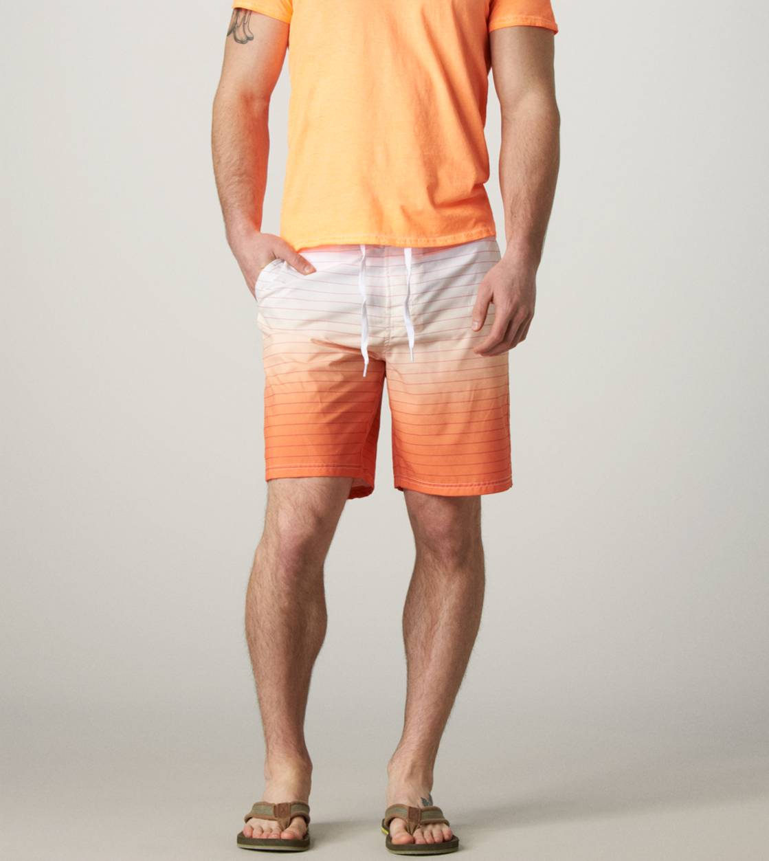 Orange AE Ombre Striped Board Short
