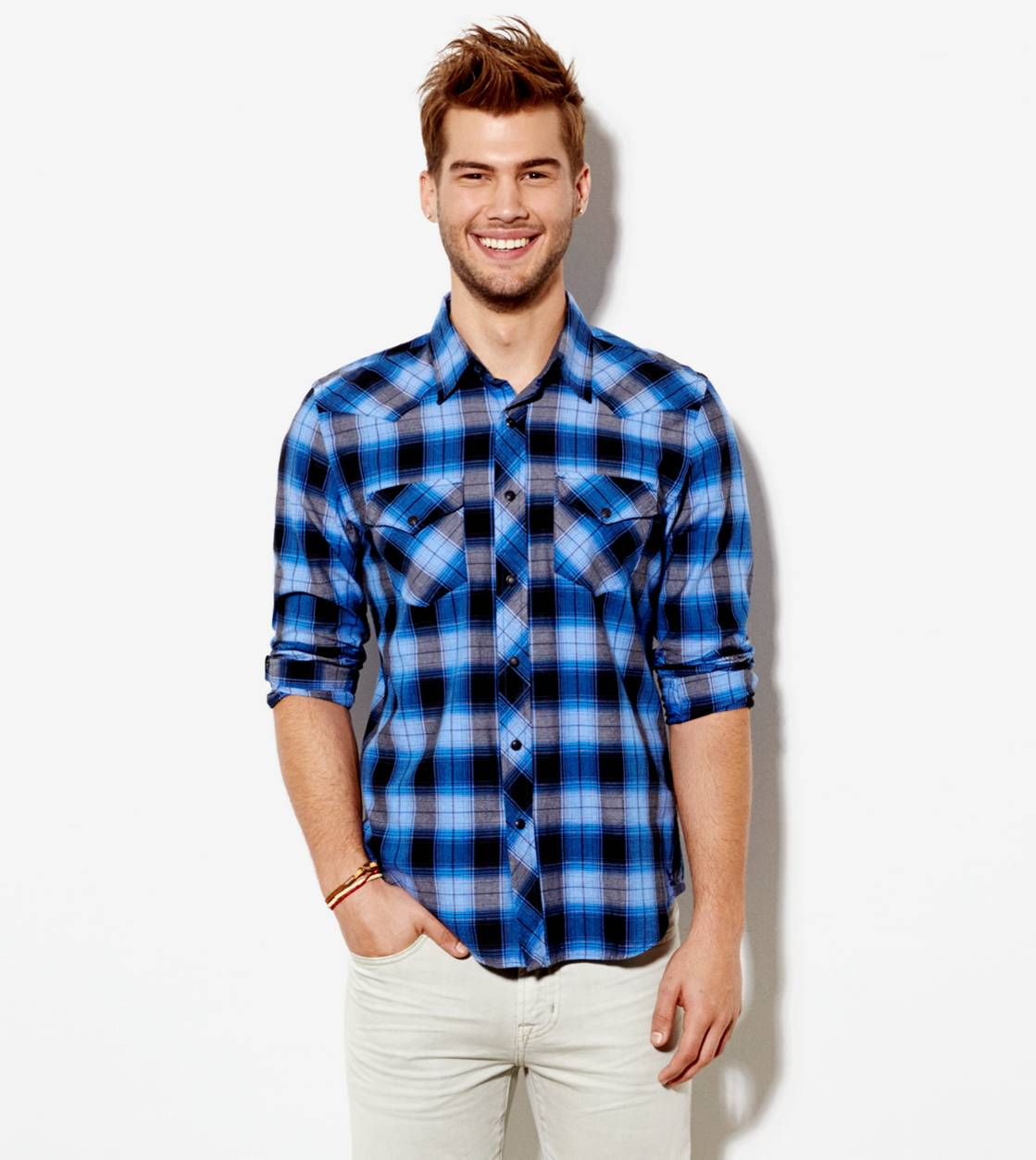 Blue AE Plaid Western Shirt