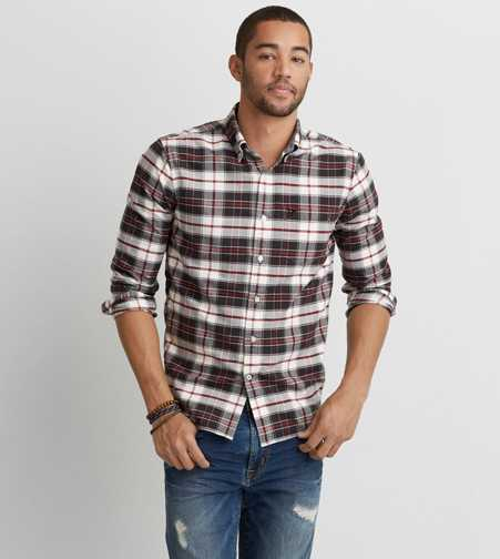 AEO Oxford Plaid Button Down Shirt