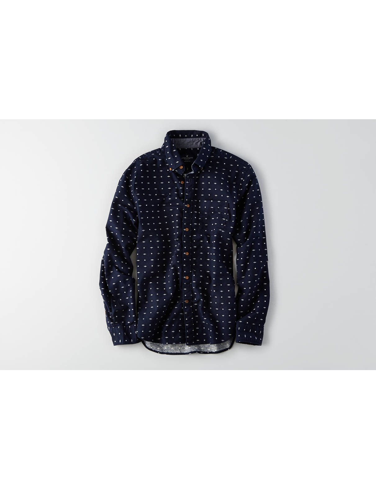 Display product reviews for AEO Print Button Down Shirt