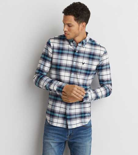 AEO Slim Oxford Plaid Button Down Shirt