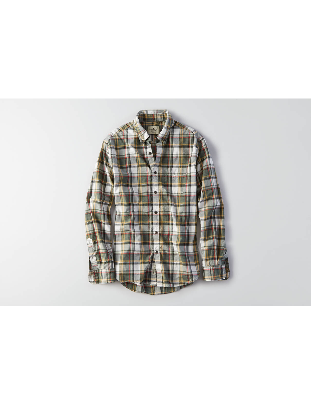 Display product reviews for AEO Heathered Twill Shirt