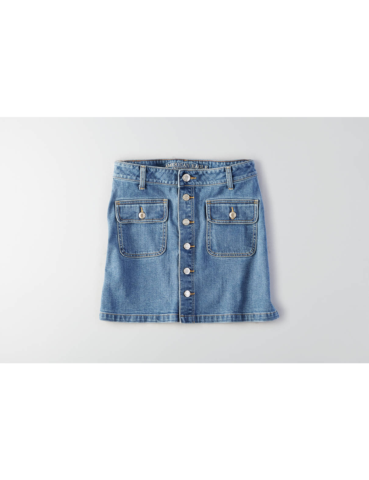 Display product reviews for AEO Button Front Denim Skirt