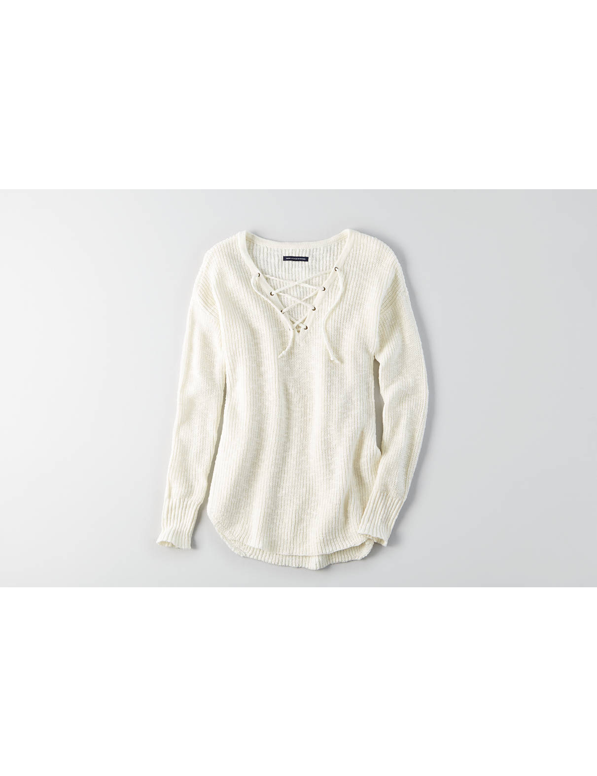 Display product reviews for AEO Lace-Up Sweater