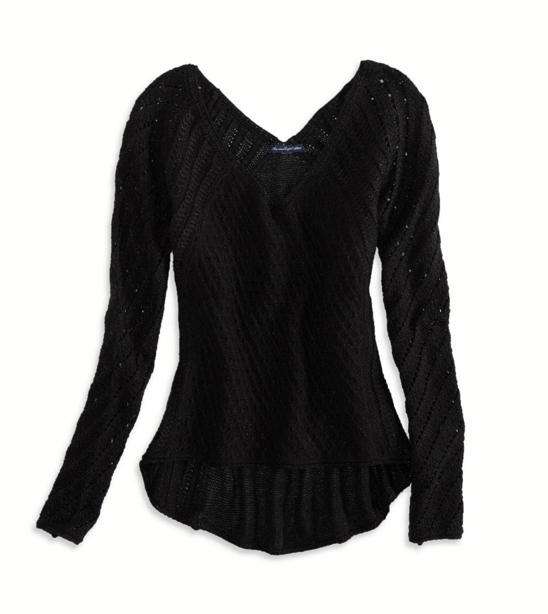 True Black AE Shimmer Sweater