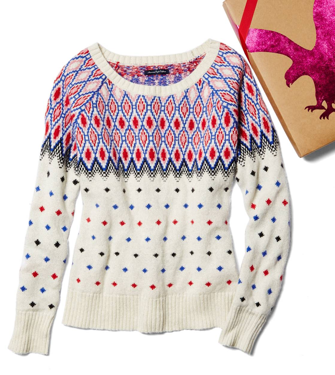 Cream AE Festive Fair Isle Sweater