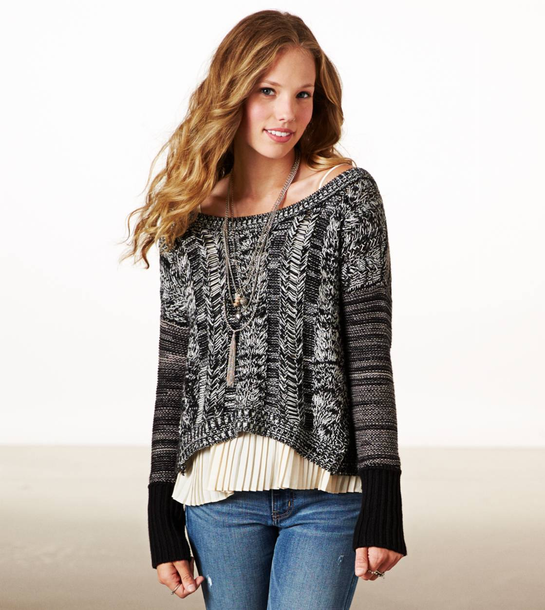 Black AE Cable Marled Sweater