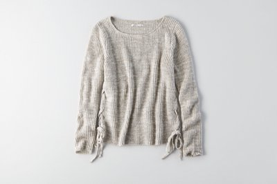 Marled Lace-Up Sweater