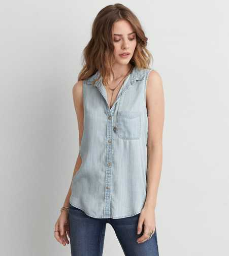 AEO Sleeveless Button Down Shirt