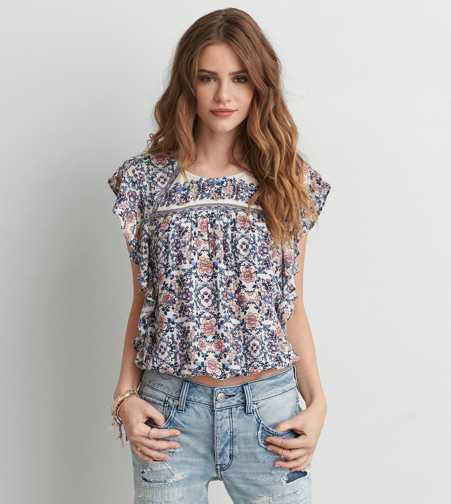 AEO Flutter Sleeve Bubble Top