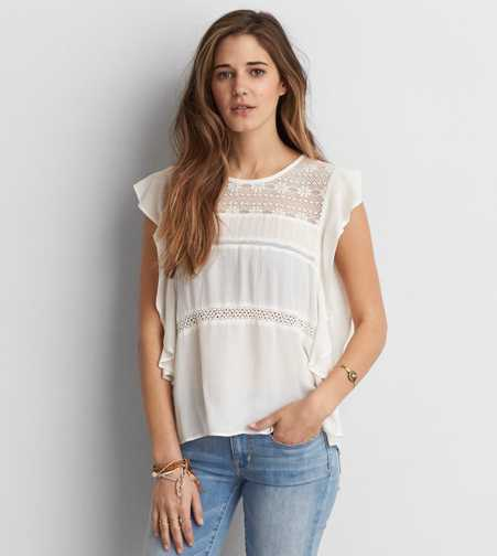 AEO Flutter Sleeve Top