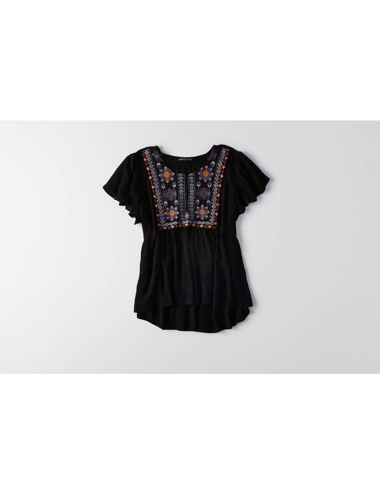 Display product reviews for AEO Embroidered Swing Shirt