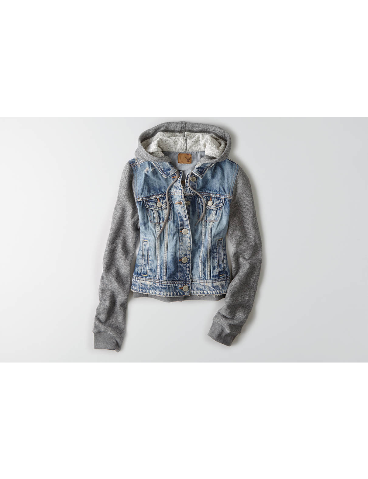 Display product reviews for AEO Hooded Denim Jacket
