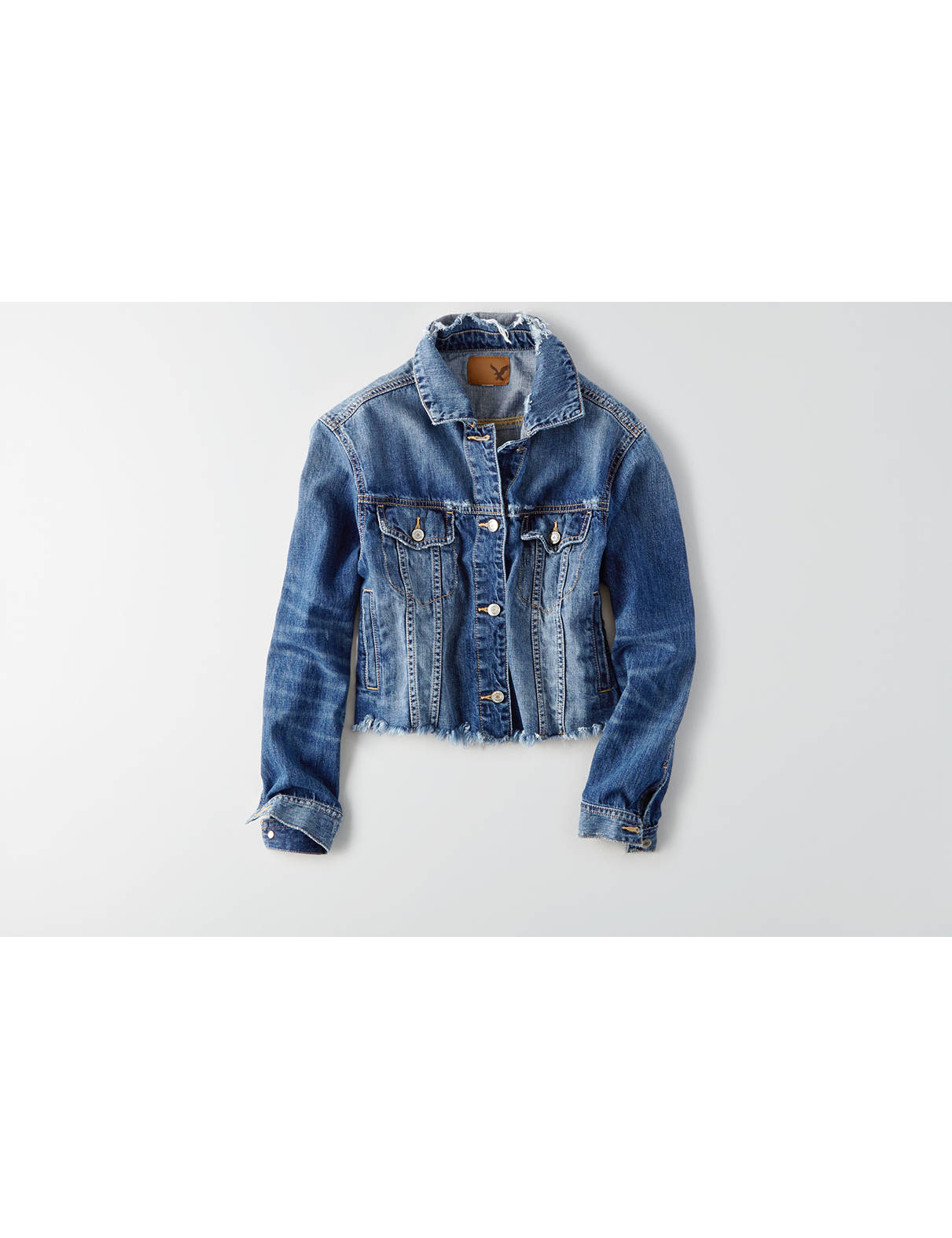 Display product reviews for AEO Fray Hem Denim Jacket
