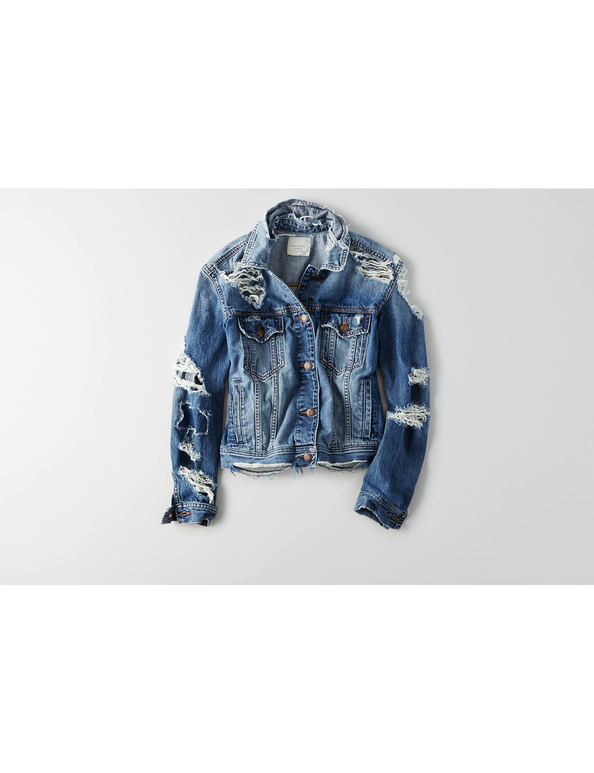 Display product reviews for AEO Destroyed Denim Jacket