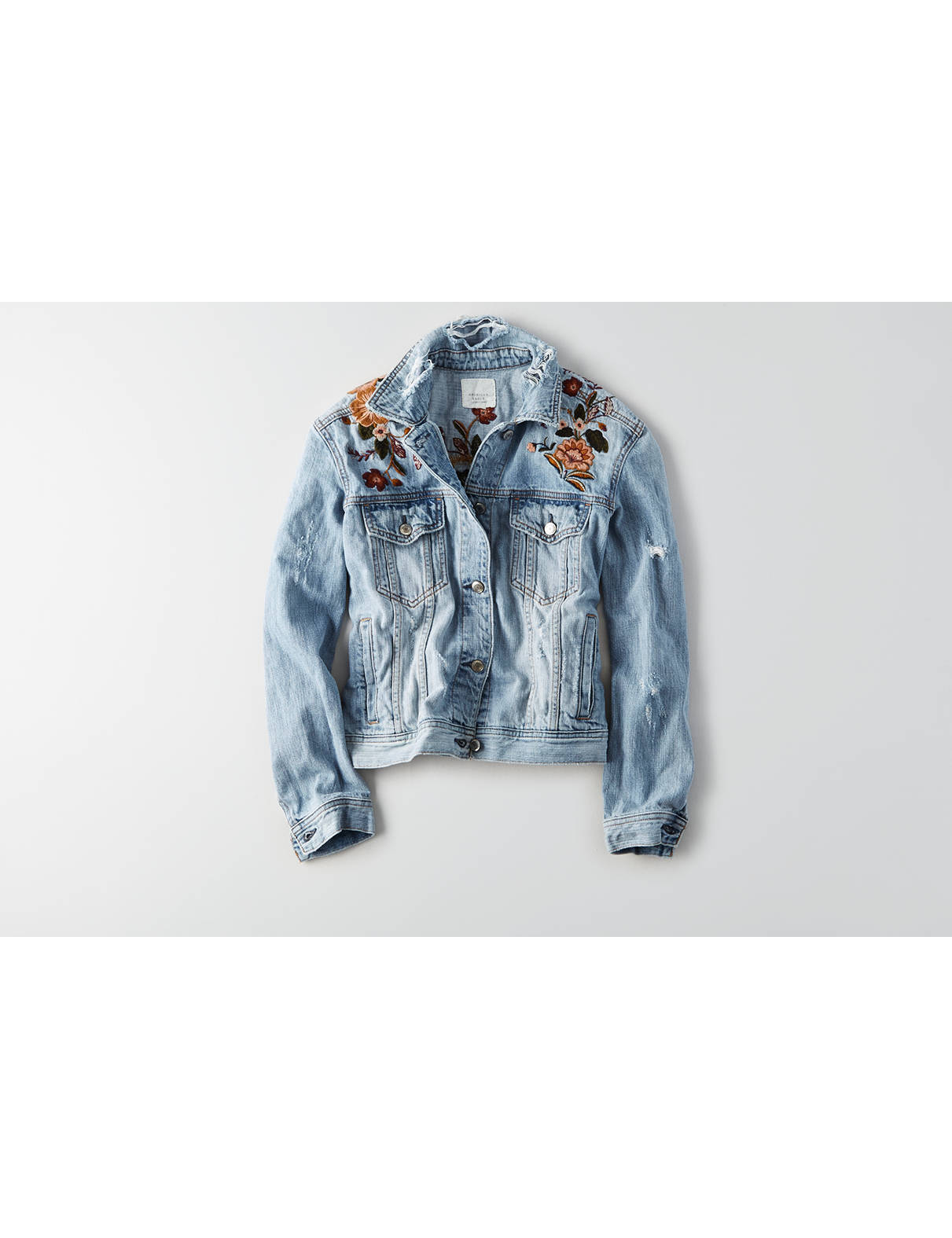 Display product reviews for AEO Embroidered Tiger Denim Jacket