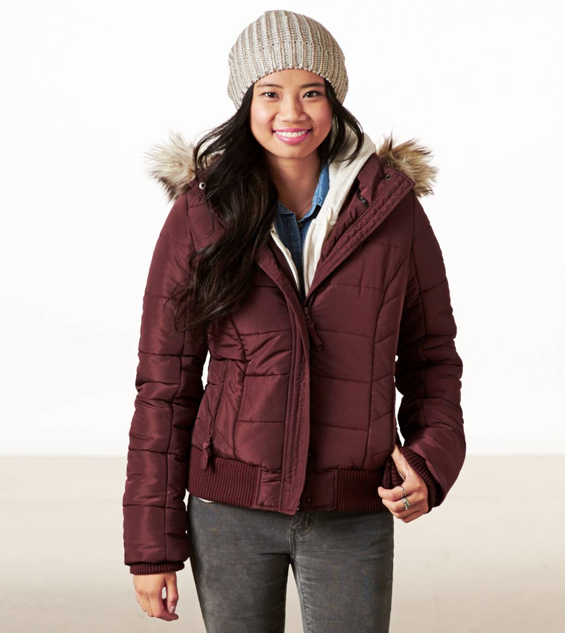 Raisin Wine AE Cropped Puffer