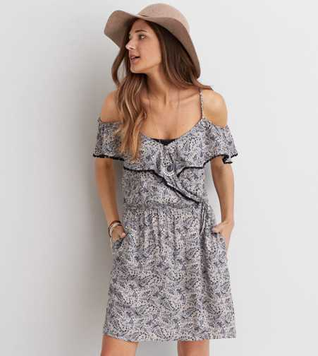 AEO Wrap Front Off-the-Shoulder Dress