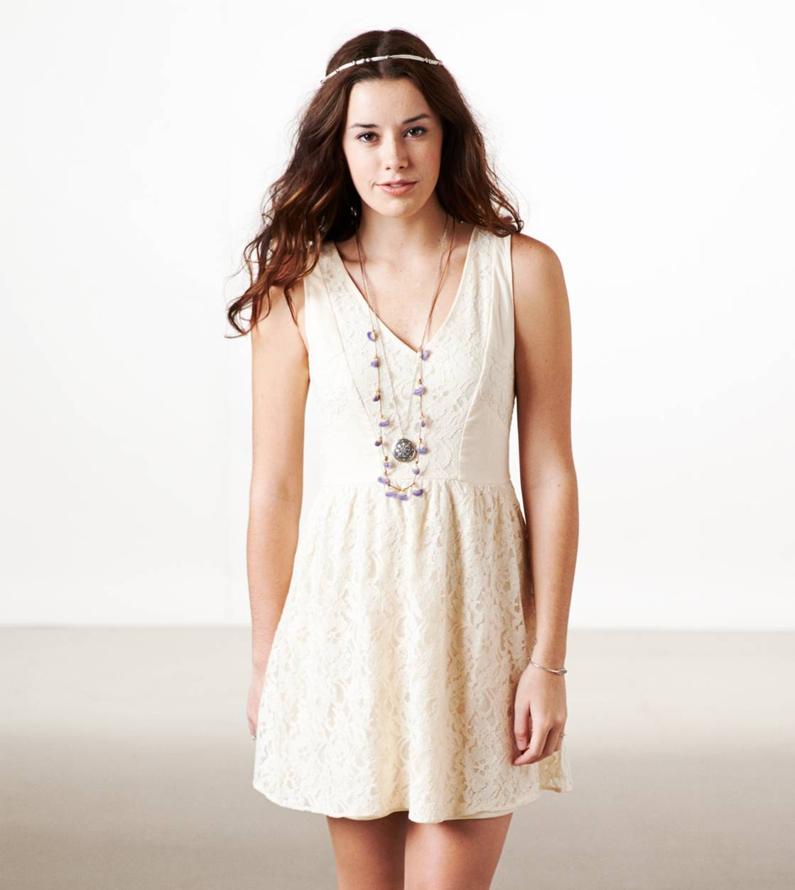 Cream AE Double V Lace Dress